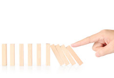 Hand stop  dominoes continuous toppled Royalty Free Stock Photography