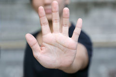 Hand with stop gesture Stock Photo