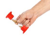 Hand stop hourglass stock photos