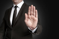 Hand stop shown by businessman royalty free stock image