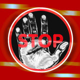 Hand stop sign. An image of a sign with black and white hand on a circle with the word stop in red over the top of it over a gold and red effect background Stock Photo