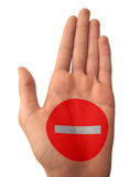 Hand with Stop Sign Stock Image