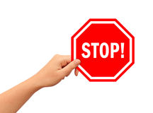 Hand with stop sign. Isolated on white Royalty Free Stock Photo
