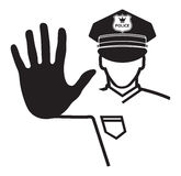 Hand stop sign by a police officer Stock Photography