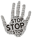 Hand Stop Signal Word Cloud Tag Stock Photos