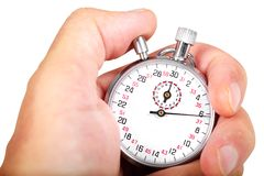 Hand and stopwatch. Close up of hand holding stopwatch on white background Royalty Free Stock Image
