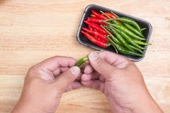 Hand striped Red Hot Chili Peppers Stock Photos