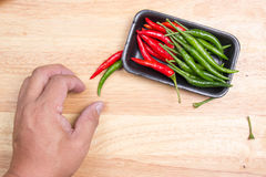 Hand striped Red Hot Chili Peppers Stock Photo
