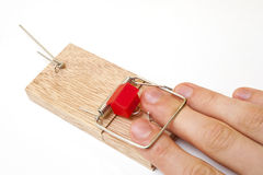 A hand stuck in a mousetrap stock photo