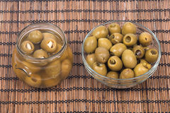 Hand stuffed colossal olives Royalty Free Stock Photos