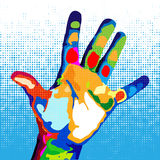 Hand in the style of pop art Royalty Free Stock Image