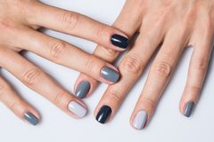 Hand with a stylish gray manicure isolated on stock image