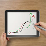 Hand with stylus and eraser deleting falling graph. Business as concept Royalty Free Stock Photography
