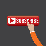 Hand On Subscribe Button. Royalty Free Stock Photo