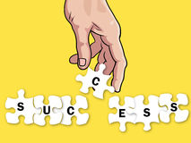 Hand and success puzzle business concept Royalty Free Stock Photography