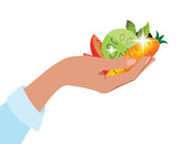 Hand suggesting fresh vegetables Royalty Free Stock Photo