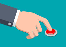 A hand in suit press button - Vector Illustration Stock Image
