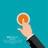 The hand in a suit. Presses the button. A vector illustration in flat style Stock Images