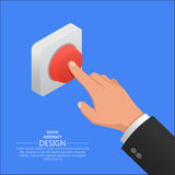 The hand in. A suit presses the red button. Vector isometric illustration Stock Image