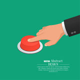 The hand in. A suit presses the red button. Vector isometric illustration Royalty Free Stock Photo