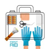 Hand with suitcase first aid kit with medical tools. Vector illustration Stock Photos