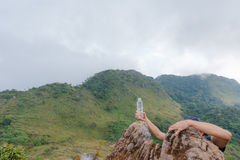 Hand on the summit fromcling Royalty Free Stock Photography