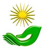 Hand and sun logo Stock Photo