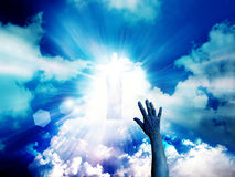 Hand on sunlight background Royalty Free Stock Image