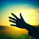 Hand on Sunset Background Stock Photography