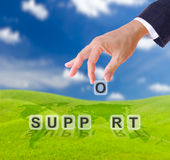 Hand and support word Stock Image