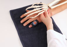 Hand surgeon with skeleton hand at patient Stock Images