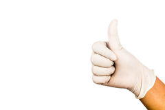 Hand in surgical latex glove gesture Thumbs up good Stock Photography