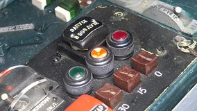 Hand switch toggle on airplane control panel. stock video