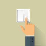 Hand Switch Toggle Flat Style Vector Illustration. Hand turning on the light switch. Turning off light toggle. Flat style vector concept illustration with long Royalty Free Stock Photos