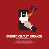 Hand Switching Burned Circuit Breaker Stock Photos