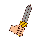 Hand with sword weapon warrior game. Illustration design Stock Photo