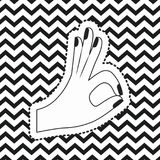 Hand symbol all okay sticker on pop art zig zag linear monochrome background. Vector illustration Stock Photography