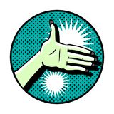 Hand symbol on dot background Royalty Free Stock Photography