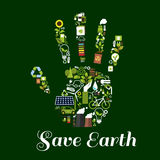 Hand symbol with ecological energy flat icons. Eco hand icon made up of green energy symbols with flat recycling signs, saving energy light bulbs with leaves Royalty Free Stock Images