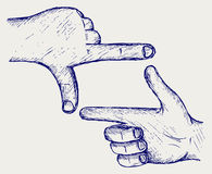 Hand, symbol frame. Doodle style Stock Photo