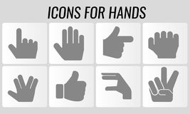 Hand symbol icons in vector. Vector set of hand sign symbols concept Royalty Free Stock Photography