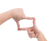 Hand symbol that means frame. Stock Photo