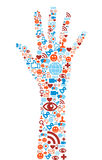 Hand symbol with media icons texture Royalty Free Stock Images
