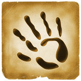 Hand symbol palm mark old paper Stock Images