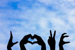 The hand symbol. For the word love represented by Love the bright and wholesome stock photo