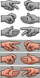 Hand symbols. Illustrated colored hand symbols as nice background Stock Image