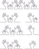 Hand symbols. Set of linear hand symbols Stock Image
