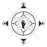 The Hand Symmetrical Pattern Black. Symmetrical pattern in line-art style with a hand in the center, black and white palette Royalty Free Stock Image