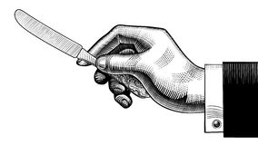 Hand with a table-knife. Vintage stylized drawing. There is in addition a vector format EPS 8 royalty free illustration
