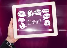 Hand with tablet and Connect text with drawings graphics Stock Photo